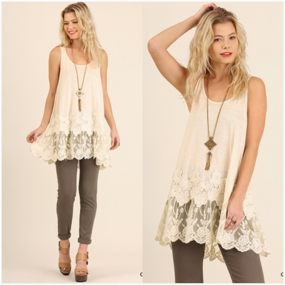 08d445f59dc Tops | New Sleeveless Racerback Floral Lace Tunic | Poshmark